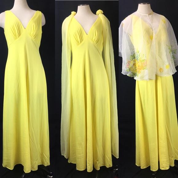 Vintage Dresses & Skirts - One Dress/Three Ways - Vintage Yellow Formal Dress